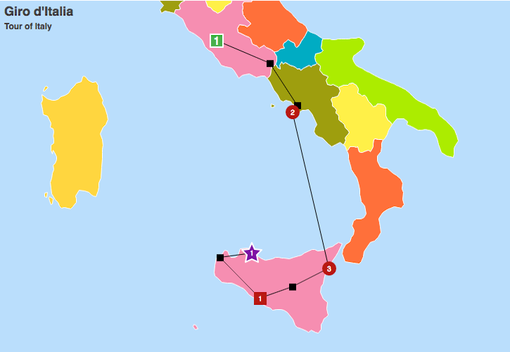 Italy Map with Routes
